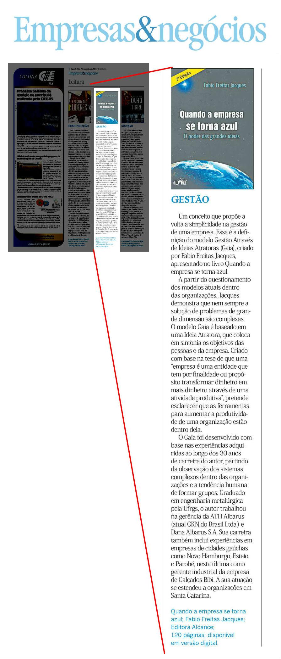 Livro do modelo GAIA é destaque no Jornal do Comércio