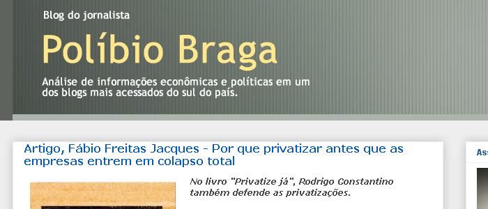 Jornalista Polibio Braga cita artigo de Fabio Jacques